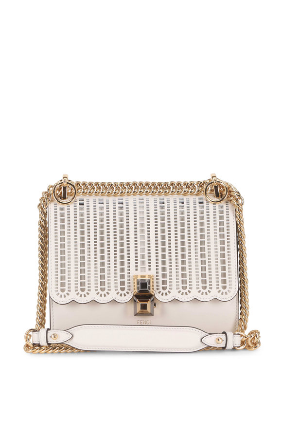 Fendi Kan I White Laser-Cut Leather Chain Small Bag