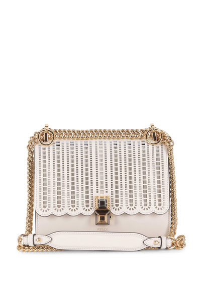 Fendi - Kan I White Laser-Cut Leather Chain Small Bag