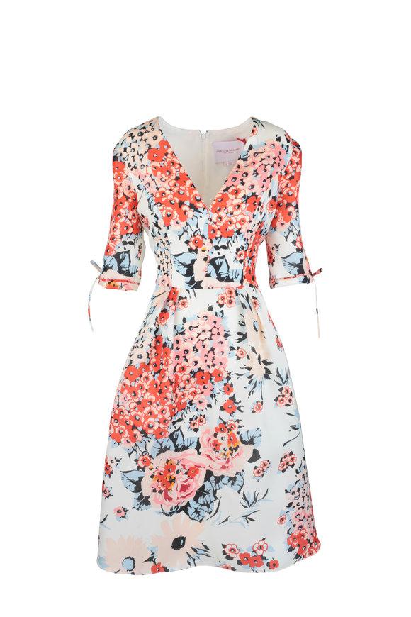 Carolina Herrera Multi-Color Silk Floral Fit & Flare Dress