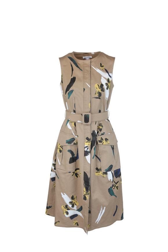 Oscar de la Renta Khaki Floral Stretch Cotton Belted Dress