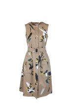 Oscar de la Renta - Khaki Floral Stretch Cotton Belted Dress