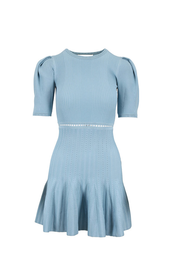 Jonathan Simkhai Deep Sea Ribbed & Eyelet Knit Dress