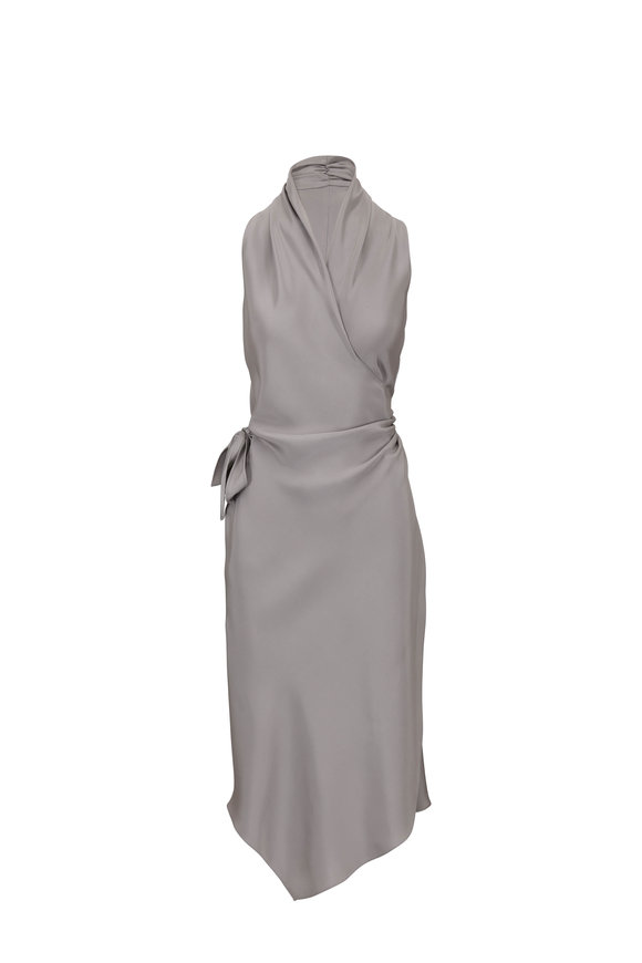 Peter Cohen Victor Light Gray Satin Signature Wrap Dress