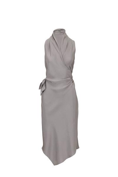 Peter Cohen - Victor Light Gray Satin Signature Wrap Dress