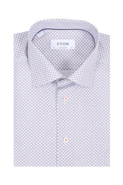 Eton - Red & Blue Geometric Contemporary Fit Dress Shirt