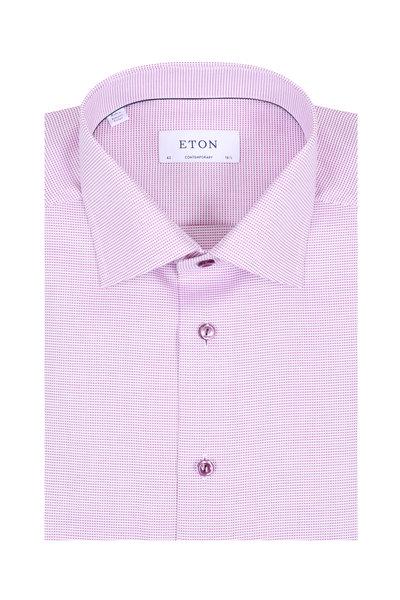 Eton - Berry Textured Twill Contemporary Fit Dress Shirt
