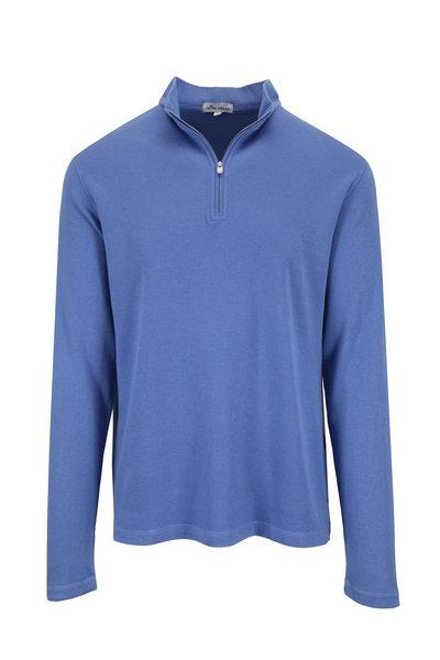 Peter Millar - Blue Sunwashed Waffle Knit Quarter-Zip Pullover