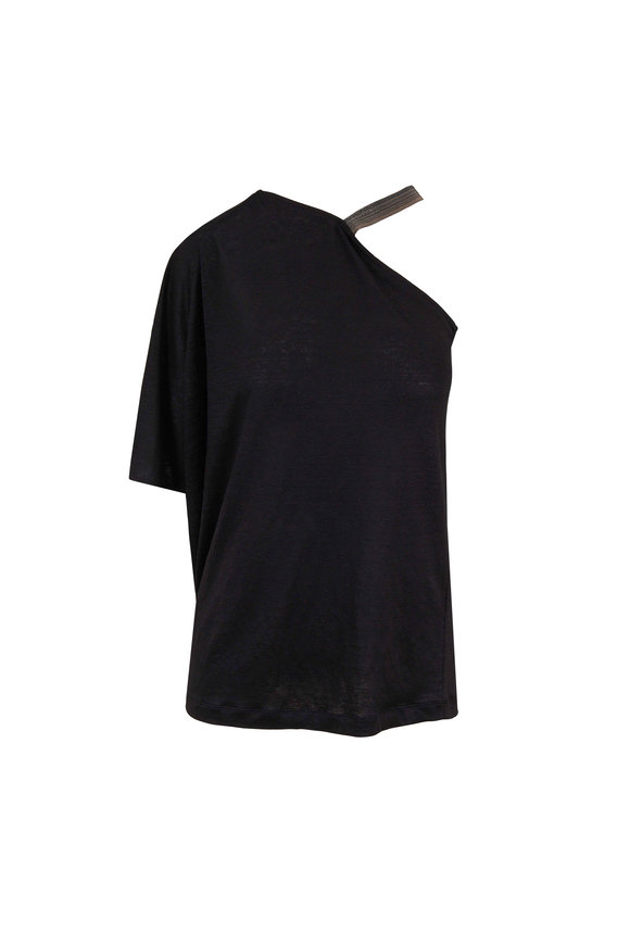 Brunello Cucinelli Black Linen One Shoulder Trapeze Sweater