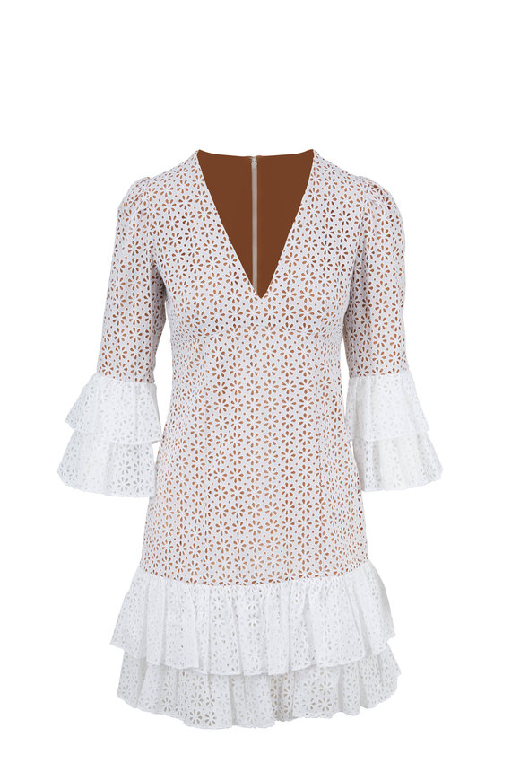 Michael Kors Collection Optic White Floral Eyelet Tiered Dress