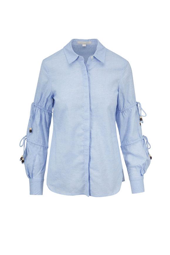 Jonathan Simkhai Light Blue Cotton Oxford Ruched & Tie Sleeve Shirt