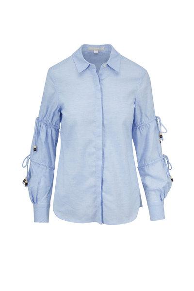 Jonathan Simkhai - Light Blue Cotton Oxford Ruched & Tie Sleeve Shirt