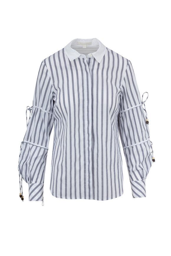 Jonathan Simkhai Black & White Striped Ruched & Tie Sleeve Shirt
