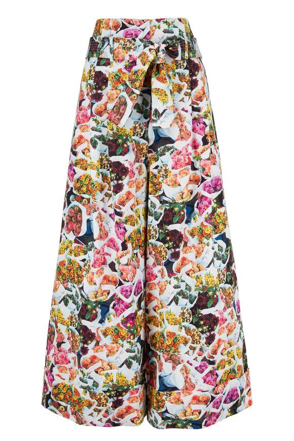Adam Lippes Multicolor Floral Printed Wide Leg Culotte