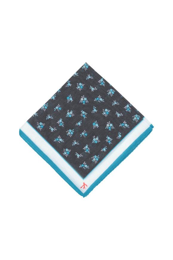 Isaia Gray & Aqua Floral Cotton & Silk Pocket Square