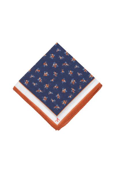 Isaia - Blue & Orange Floral Silk Blend Pocket Square