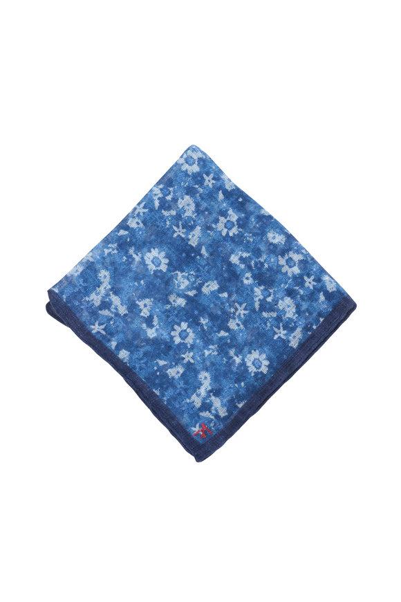 Isaia Blue Floral Linen Pocket Square