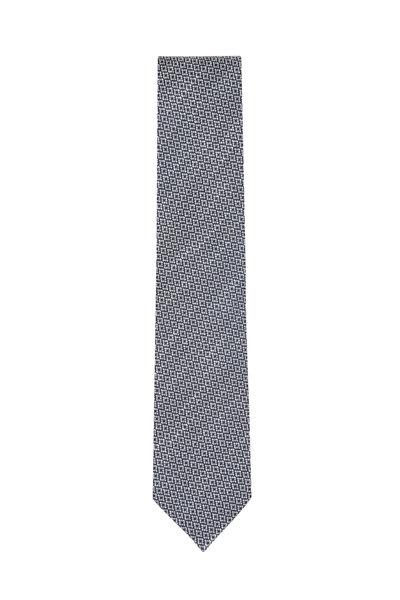 Ermenegildo Zegna - Navy Blue & Gray Geometric Necktie