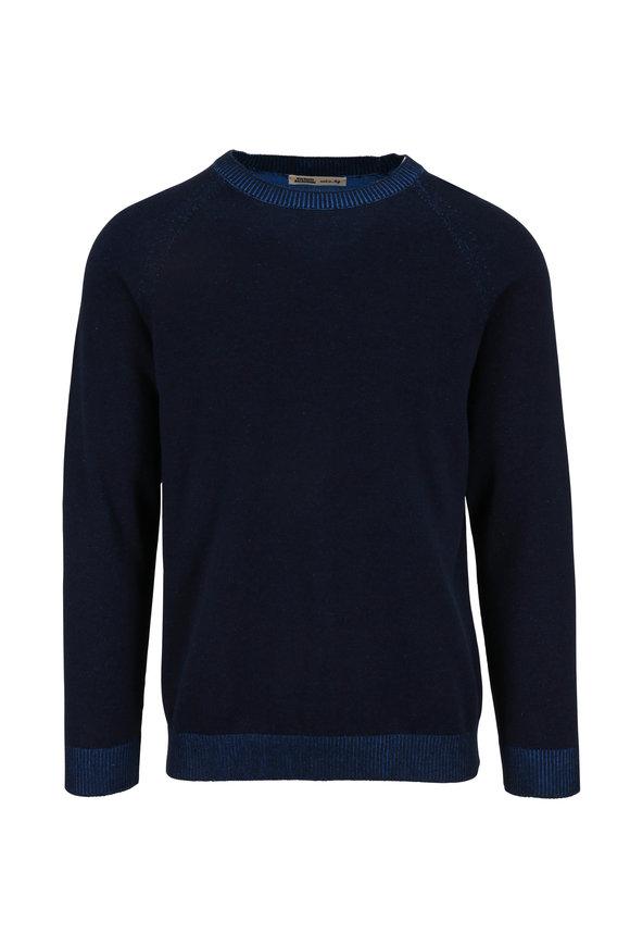 Maurizio Baldassari Navy & Turquoise Cotton Crewneck Pullover