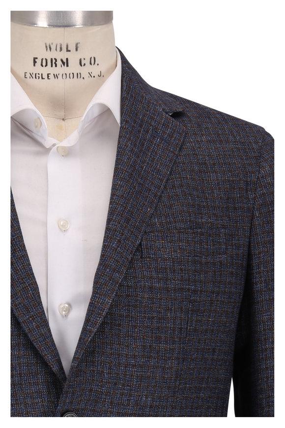 Maurizio Baldassari Navy Small Windowpane Wool & Linen Sportcoat
