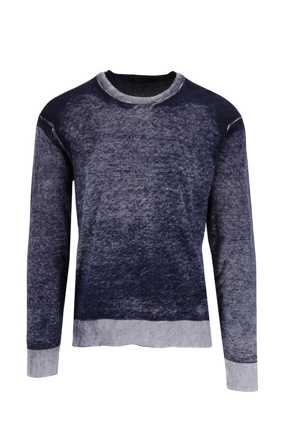 Raffi  Washed Navy Cotton Crewneck Pullover