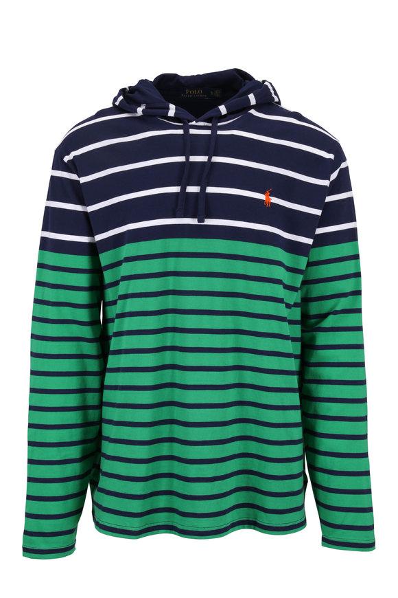 Polo Ralph Lauren Navy & Green Striped Hoodie