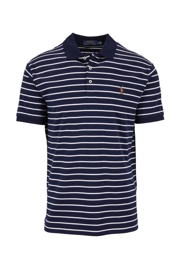Polo Ralph Lauren Navy & White Striped Custom Slim Fit Polo