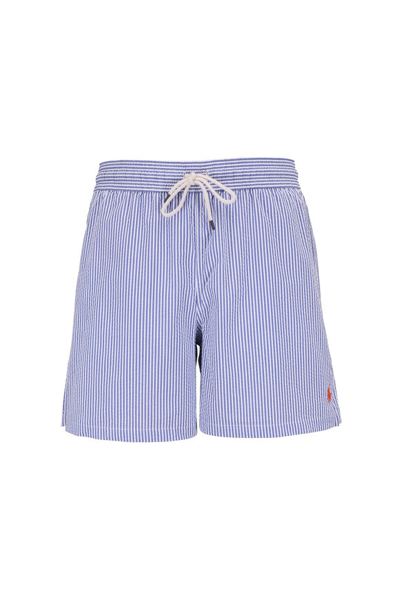Polo Ralph Lauren Light Blue & White Striped Swim Trunks