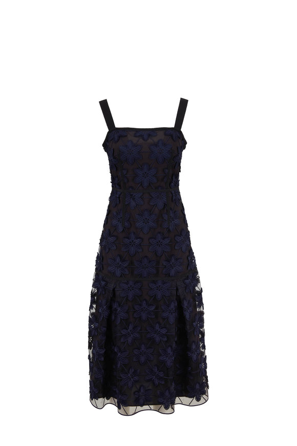 Paule Ka Navy Blue Floral Applique Tank Midi Dress