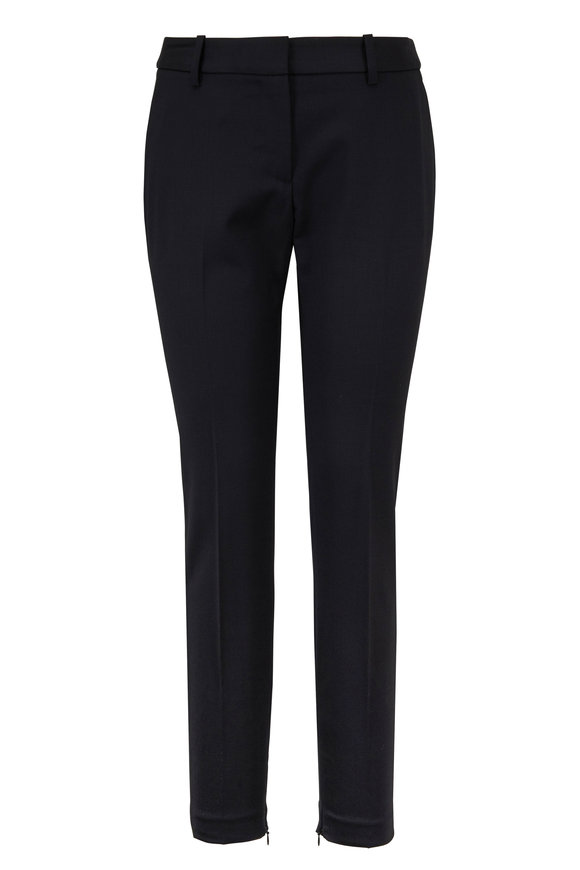 Nili Lotan Leo Black Stretch Wool Zip Cuff Pant