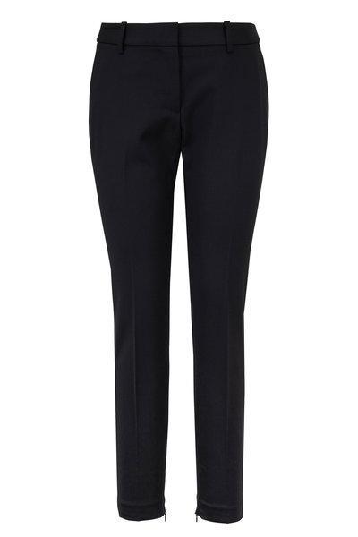 Nili Lotan - Leo Black Stretch Wool Zip Cuff Pant
