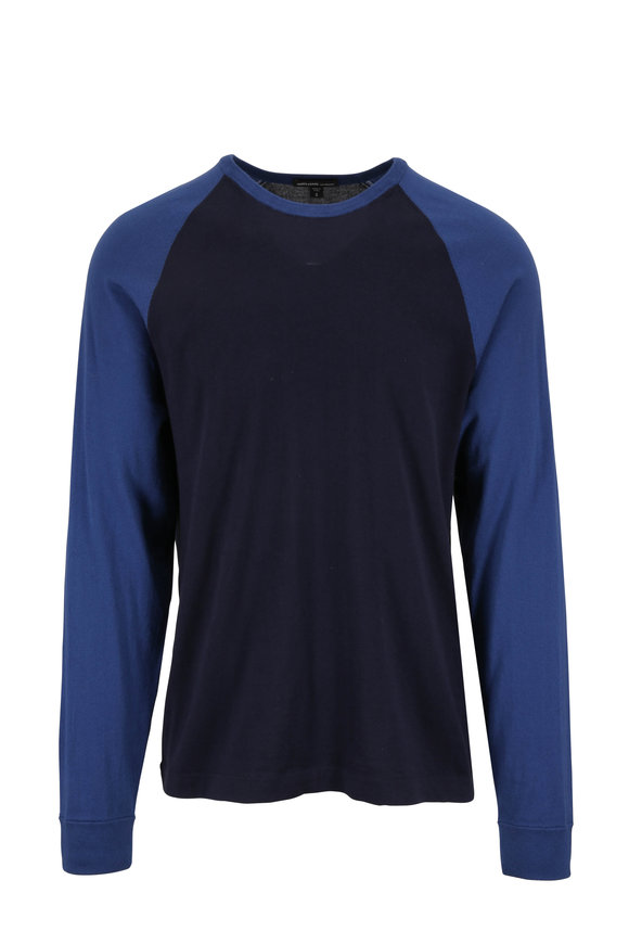 James Perse Navy & Airforce Blue Baseball T-Shirt
