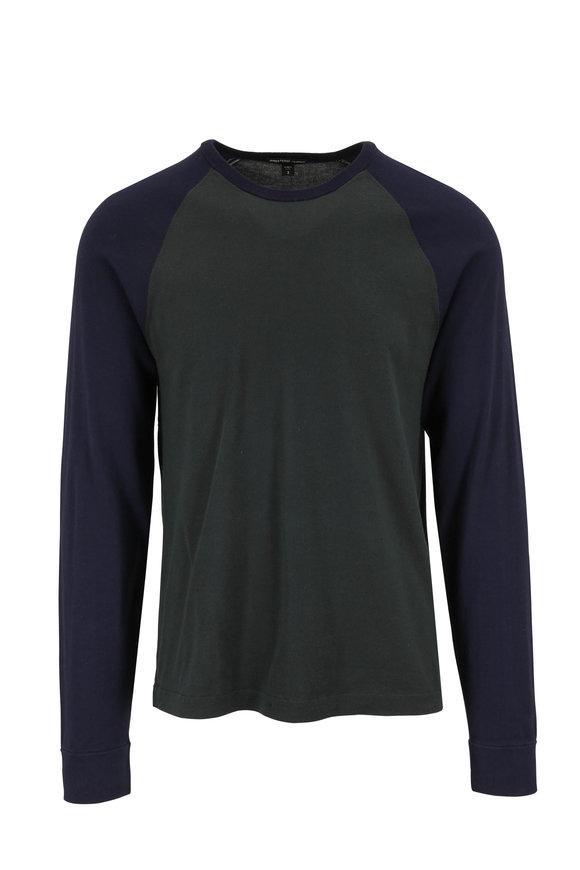 James Perse Seaweed Green & Navy Baseball T-Shirt