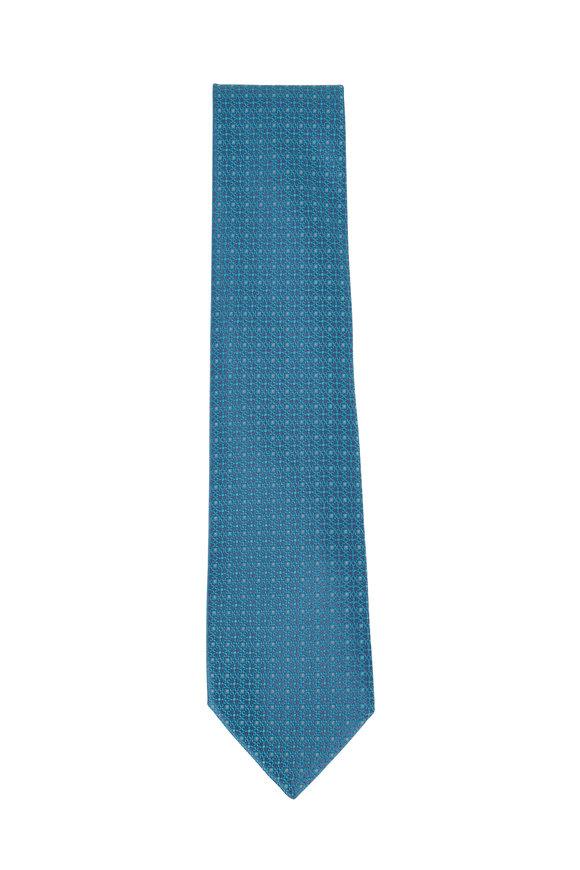 Charvet Teal & Blue Geometric Silk Necktie