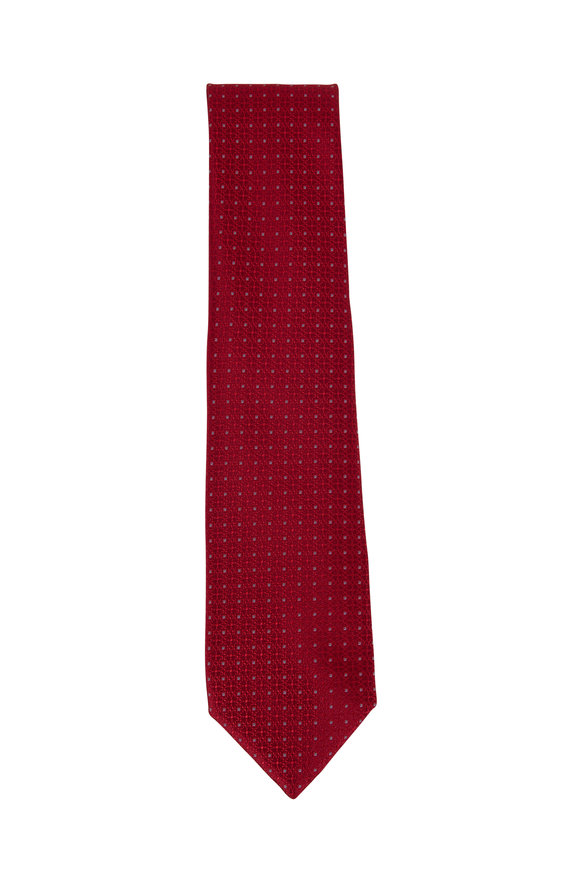 Charvet Red Geometric Patterned Silk Necktie