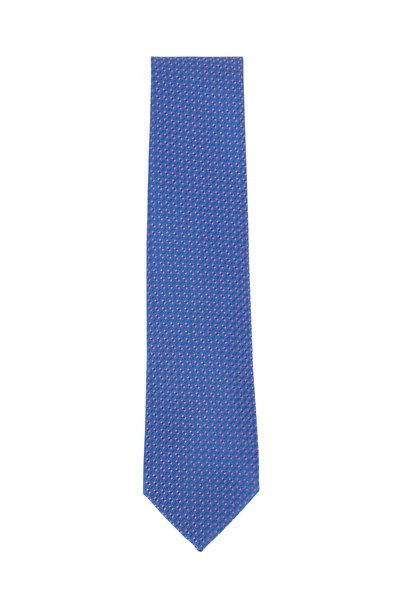 Charvet - Blue & Bright Pink Geometric Silk Necktie