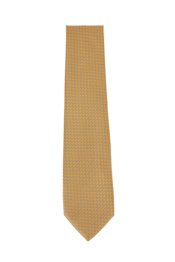 Charvet Yellow & Light Blue Geometric Silk Necktie