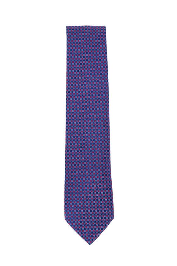 Charvet Blue & Red Diamond Pattern Silk Necktie
