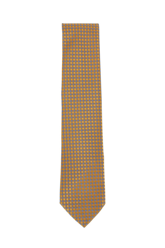 Charvet Yellow & Light Blue Diamond Pattern Necktie