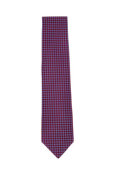 Charvet - Burgundy Diamond Pattern Silk Necktie