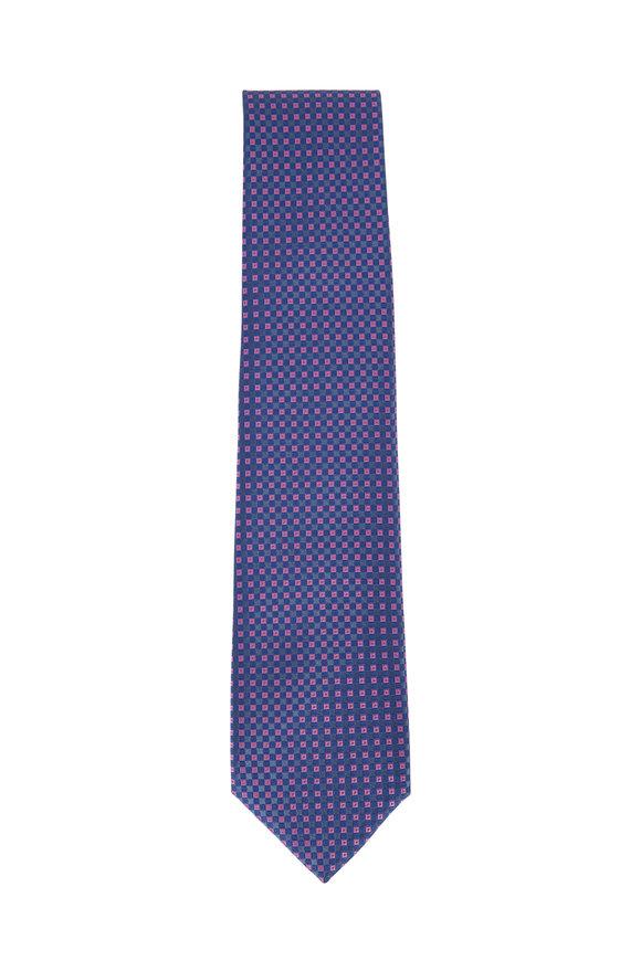 Charvet Blue & Fuchsia Diamond Pattern Silk Necktie