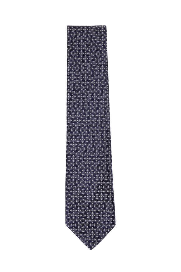 Charvet Navy & White Geometric Silk Necktie
