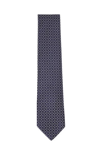 Charvet - Navy & White Geometric Silk Necktie