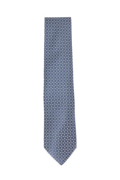 Charvet - Medium Gray Geometric Silk Necktie