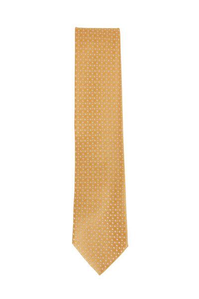 Charvet - Yellow & White Geometric Silk Necktie