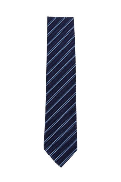 Charvet - Navy & Light Blue Striped Silk Necktie