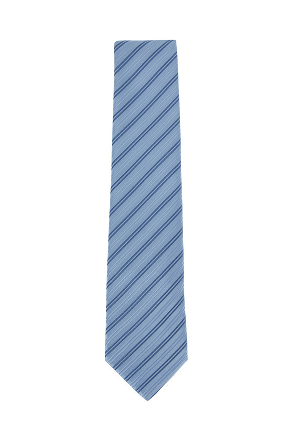 Charvet Blue & Light Blue Striped Silk Necktie