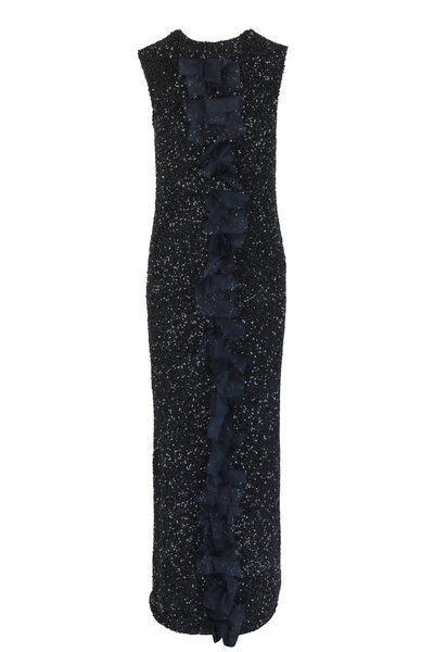 Olivine Gabbro - Navy Blue & Black Beaded Cap Sleeve Gown