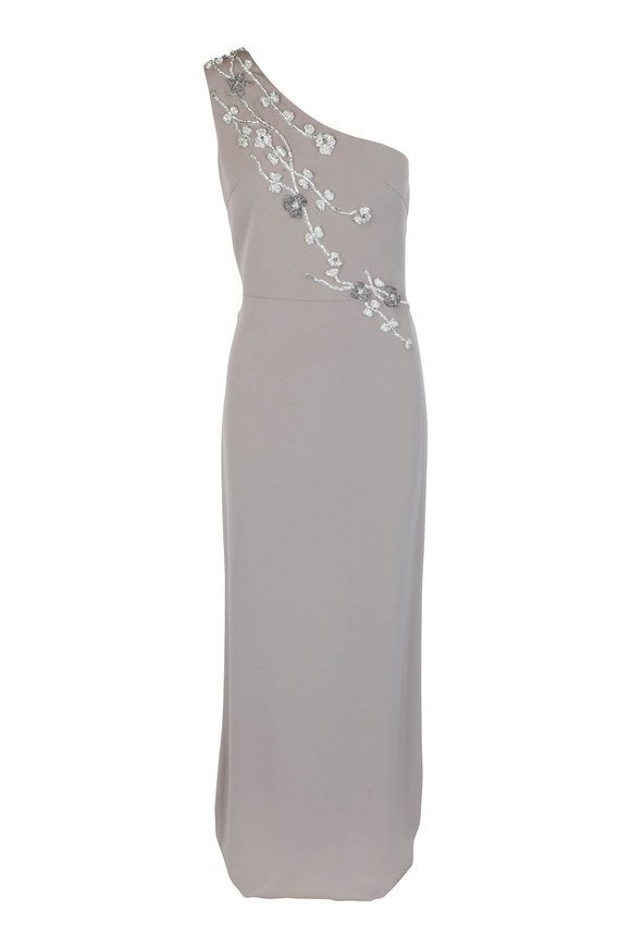 Olivine Gabbro Taupe Silk Floral Beaded One-Shoulder Gown
