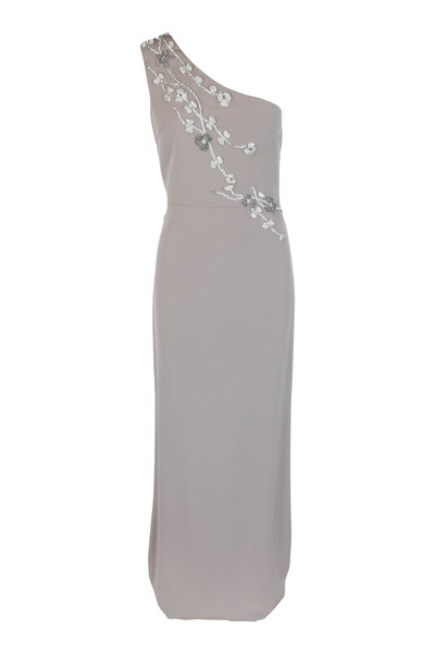 Olivine Gabbro - Taupe Silk Floral Beaded One-Shoulder Gown