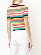 Michael Kors Collection - Rainbow Striped Crewneck Ribbed Top